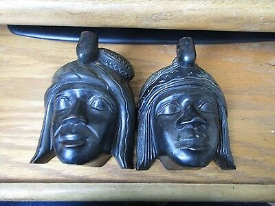 Vintage Pair Man Woman Heads Wall Hanging Plaques Philippines Carved Dark Wood