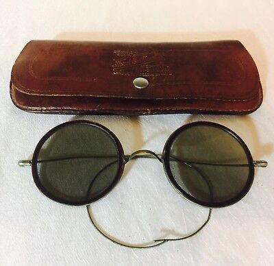 ANTIQUE White Metal ROUND S.P.A. SUNGLASSES lined with Brown Celluloid w/ Case