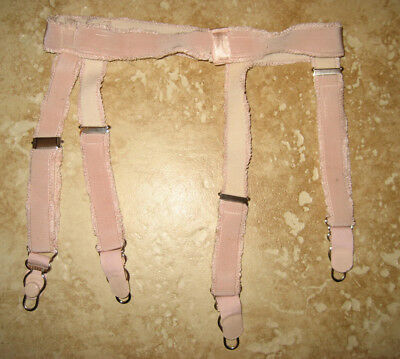 Vintage Light Pink Elastic Band Garter Belt Cello Suspenders Adjustable Straps