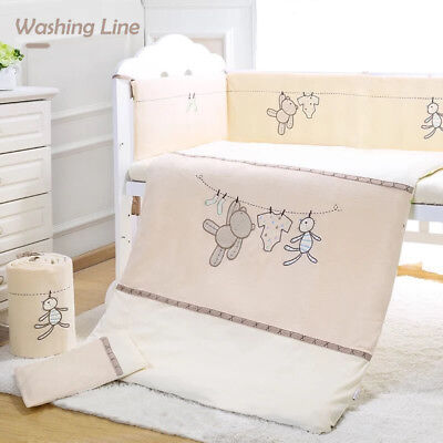 7pcs Baby Crib Bedding set Bumpers Quilt Pillow Cot Sheet-washing line