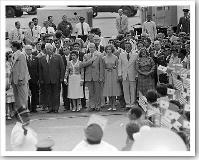 President Jimmy Carter & Rosalynn With Panama Officials 8x10 Silver Halide Photo
