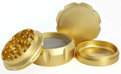 Chromium Crusher Drum 2.5 Inch 4 Piece Tobacco Spice Herb Grinder - Gold