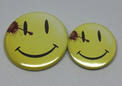 "2 Watchmen Smiley Face Pin Badge Button 50mm & 38mm  1"" and 2"""