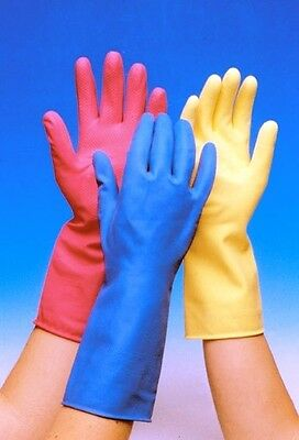 Rubber Gloves Washing Up Cleaning Pink Yellow Blue Small Medium Large Quality