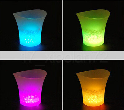 LED Colour Changing Ice Bucket Champagne Wine Beer Drinks Cooler Party Bar KTV