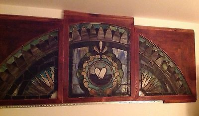 Antq Architectural Salvage 1800's Stained Glass Window Full Color One~Of~A~Kind