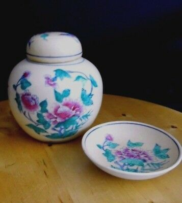 Chinese Ginger Jar With Pin Dish Famille Rose & Butterfly Decoration