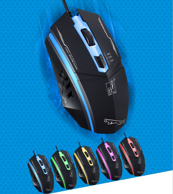 US 1200 DPI LED Optical USB Wired Gaming Mouse Mice For PC Laptop Game - Black