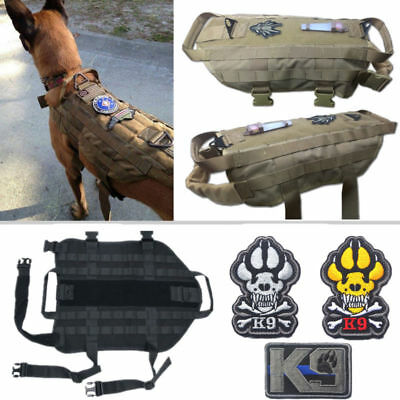 New Tactical Military K9 MOLLE Service Dog Harness Police German Shepherd Vest