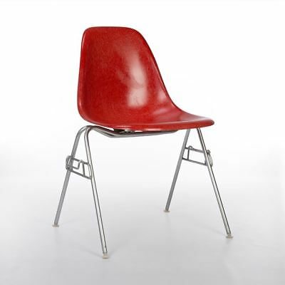 Deep Red Herman Miller Original Vintage Eames DSS Stacking Dining Shell Chair