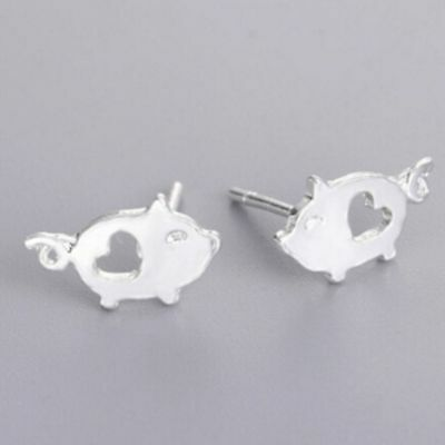 Cute  Silver Small Bijoux Girls Fashion Animal Gift Pig Jewelry Earrings