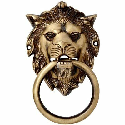 Antique VINTAGE Style Brass Lion Face Door Knocker Jungle Animal Knob Pull Solid