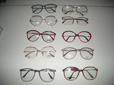 Vintage Lot of 10 Womens 1980s Large Eyeglass Retro Frames Old Store Stock
