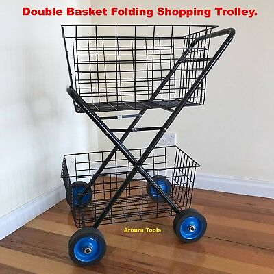 SHOPPING TROLLEY DOUBLE BASKET  FOLDING, HEAVY DUTY Frame & WHEELS, NEW.