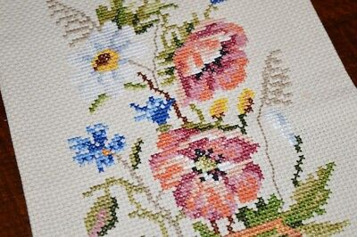 Spring Poppy Watering Can! Vtg German Finished Needlepoint Wallhanging Runner?