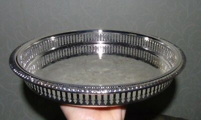 Vintage silver plated round Butler CHASED GALLERY DRINKS TRAY 11 ins