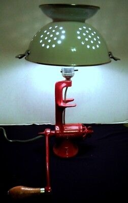 1960's Fire Engine Red Iron Food Chopper With White Colander Shade Table Lamp