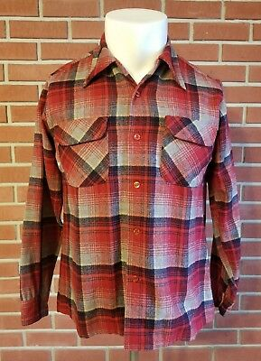 Pendleton Long Sleeve Button Front Loop Collar Flap Pockets Mens Flannel Shirt M