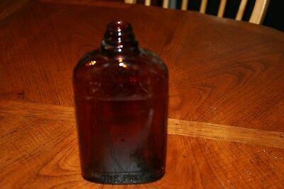 Vintage Brown Embossed Glass WHISKEY Bottle One Pint