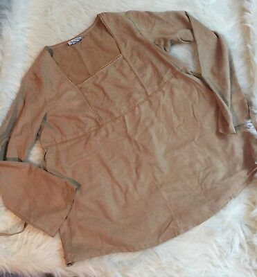 Women's Maternity Blouse Top Large L Oh Baby Motherhood Tie Brown Faux Suede A6