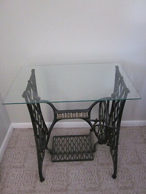 """Antique """"singer"""" Cast Iron Treadle - Restored / Glass Top - Local Pick-Up"""