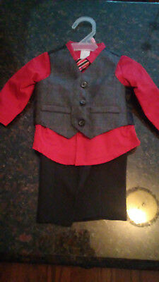 4 pc. George Suite RED with striped tie 0-3 Months Only Worn Once