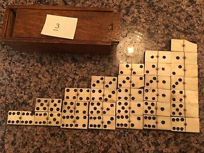 Antique Handmade Bone & Ebony Double-Six Domino Full Set - 28 Pieces, 19thC.