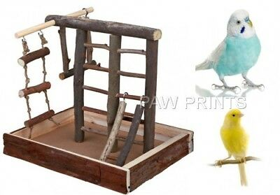 Natural Wood Bark Sml Playground Ladders Swings Rope Toy 5660 Budgie Bird Canary