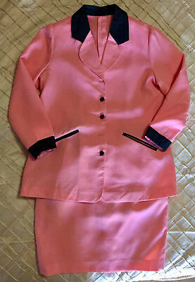 Peach Coral Black Accent Long Sleeves Custom Maternity Top & Skirt sz S