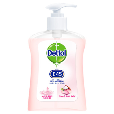 6 x Dettol With E45 Anti Bacterial Rose & Shea Butter Hand Wash 250ml
