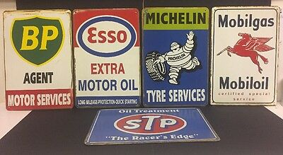 BP/Esso/Michelin/Mobilgas/STP Vintage Retro Metal Sign Garage Bar Set Of 5