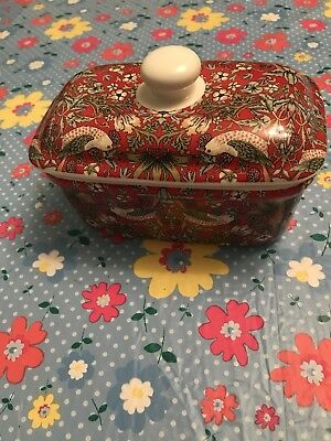 William Morris Strawberry Thief Fine China Butter Dish Kitchen Bird LP92662