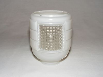 Vintage Antique Art Deco White & Clear Glass Bathroom Fixture Shade Unusual Form