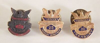 Three Treasury Dept. Service Pins Sterling & Gold Filled 20, 25, 30 Years No Res