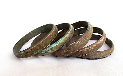 Old Islamic North African Lot of 5 Bronze Bracelets - Found While Digging!