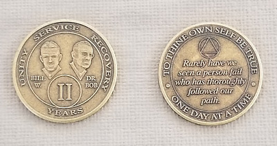 Recovery coins AA 2 Year Bronze Bill & Bob Medallion Tokens Sobriety Birthday