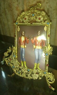 Lovely French Antique Vintage Ornate Brass Wall Frame I11x15,5 cmPicture