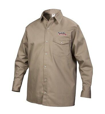 Lincoln Electric Khaki Large Flame-Resistant Cloth Welding Shirt D5