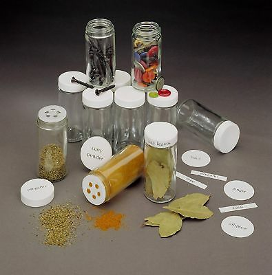 11Glass Jars White Plastic Lids: Buttons/Spice/Nails/Beads/Sparkles (set of 11)