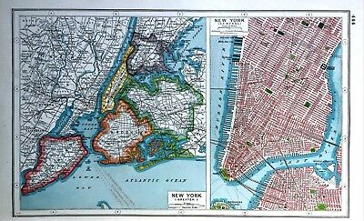 Vintage Antique Original 1920 Map Print Of New York Greater & Central City Plan