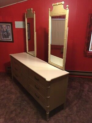 henry link  vintage faux bamboo 9 draw dresser 2 mirrors