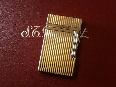 S T Dupont Line 2 Montparnasse Lighter -  Gold Plated with Vertical Lines