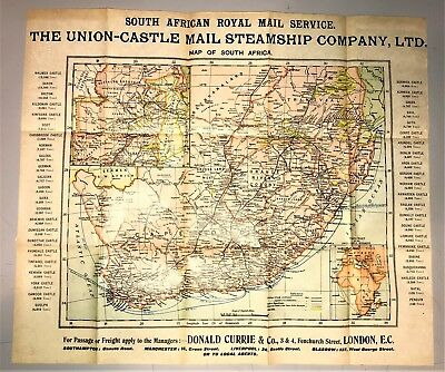 British South Africa ROYAL MAIL Service Routes - Rare & Authentic Vellum Map
