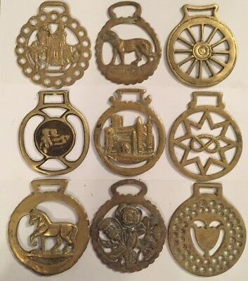 9 Antique Brass English Horse Brasses Saddle British Brass Decoration Lot 5