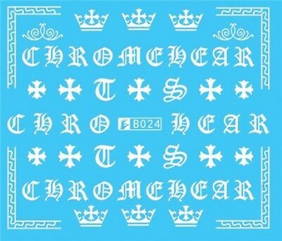 Nail Art Stickers Water Decals Transfers White Mono Design Letters (B024)