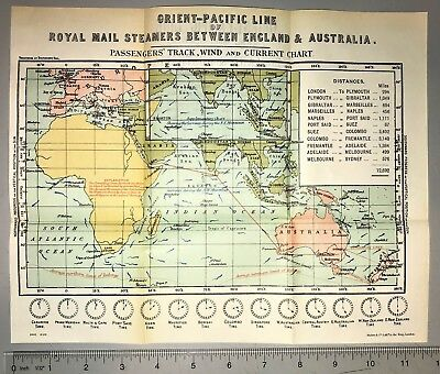 1903 England to Australia ROYAL MAIL Steamers Routes Rare & Authentic Vellum Map