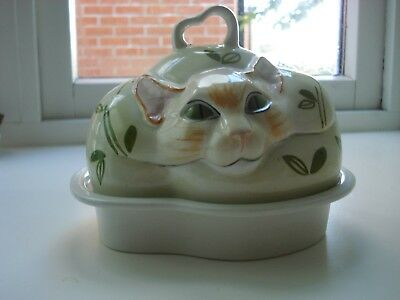 Carlton Ware rare Cheshire Cat butter or cheese dish
