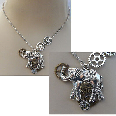 Necklace Steampunk Elephant Pendant Silver Jewelry Handmade NEW Fashion Cosplay