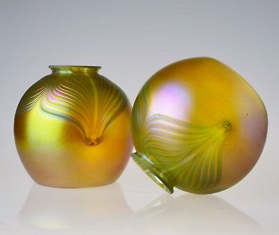 Blown Art Glass Shades Iridescent Art Nouveau Pulled Feather Shade 2 ¼ Fitter