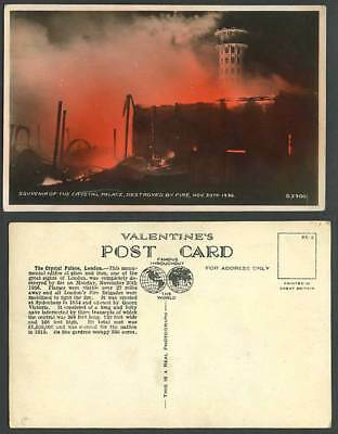 London The Crystal Palace Sydenham Destroyed by Fire Nov. 30th 1936 Old Postcard